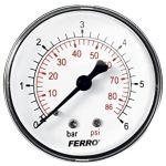 Manometrs Ferro Dn63 1/4' Radiālais, 0-6 bar