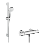 Dušas komplekts Hansgrohe Crometta Vario ar termostatu Ecostat 1001 CL, balts/hroms