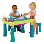 Bērnu rotaļu galdiņš Creative Play Table ar 2 krēsliņiem, 29184184732, zaļš/tirkīza