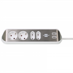 Pagarinātājs ESTILO (stūra) ar 2x USB uzlādes ligzdām, 2m vads, 4 rozetes, dzelzs+balts.