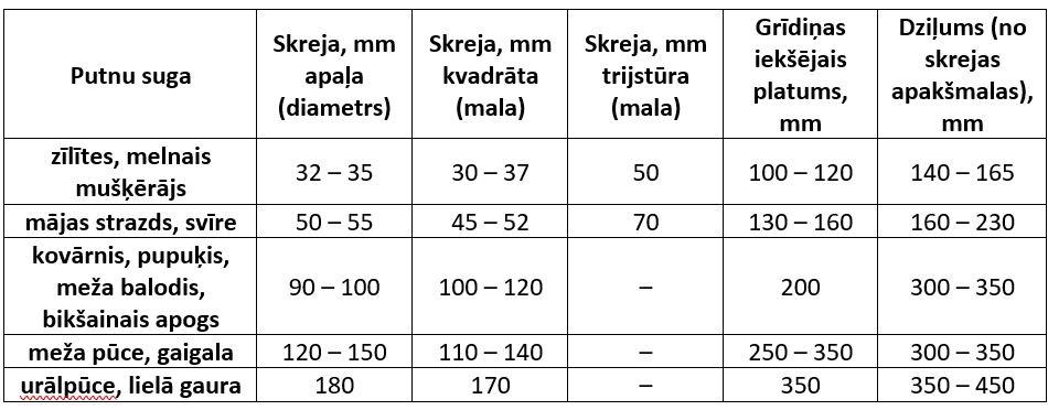 putnu burisu izmeru tabula